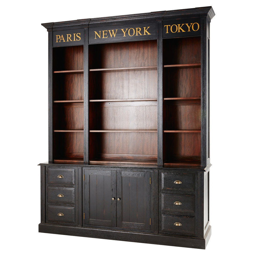 biblioth que haussmann 2 portes 6 tiroirs noire. Black Bedroom Furniture Sets. Home Design Ideas