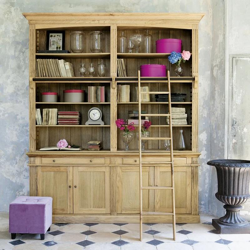 Bibliothèque 2 tiroirs 4 portes Atelier avec échelle en chêne - Maisons du Monde