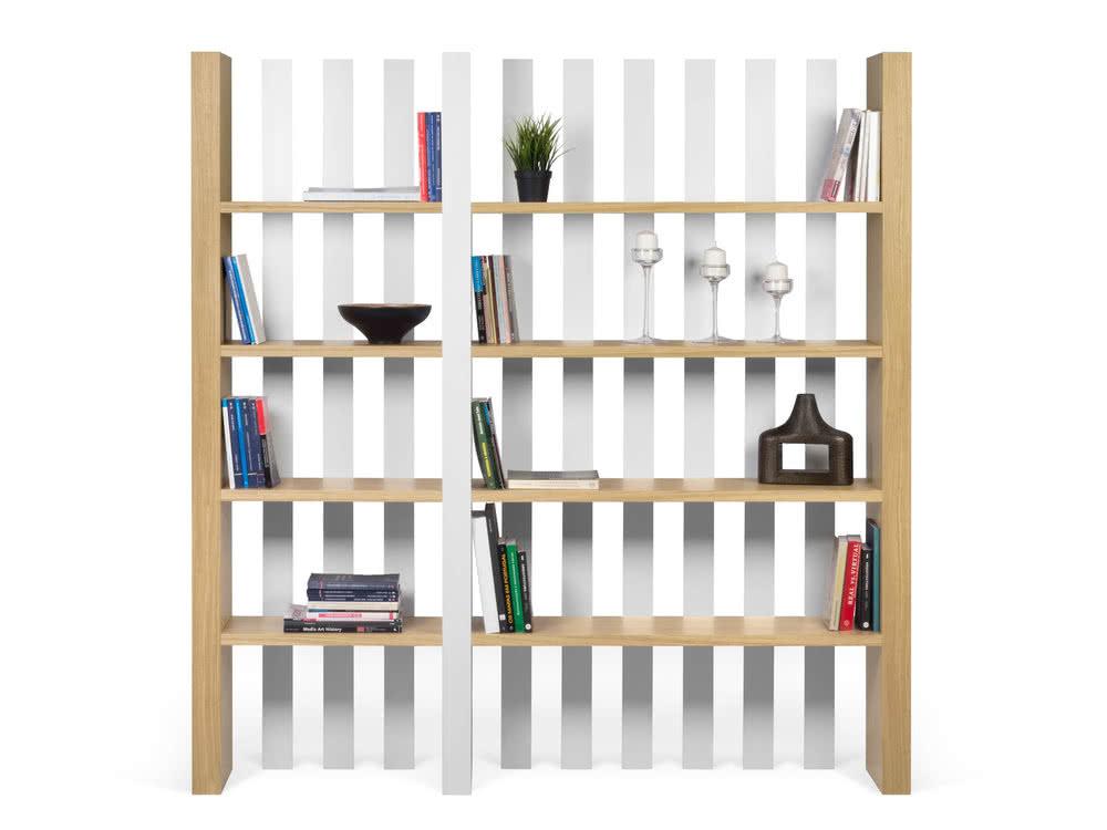 Bibliothèque étagères BOUNCE en bois blanc et chêne - Delamaison