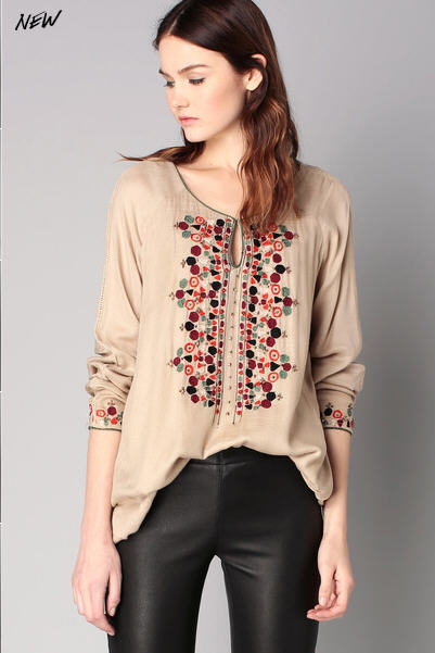 Blouse beige broderies Rana Hipanema for Amenapih - Blouse Monshowroom