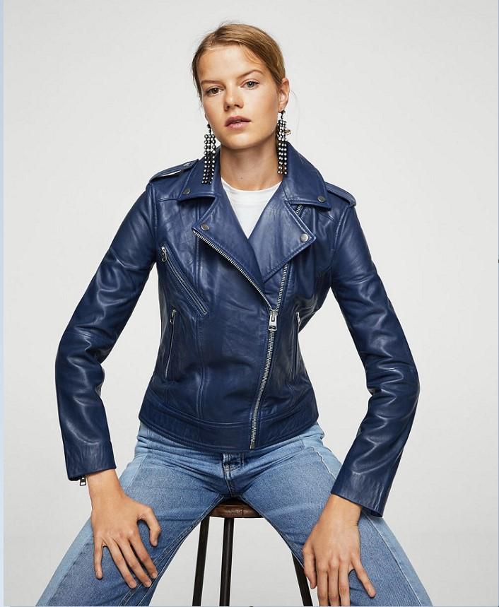 59c739c4416d Mango SHANGHAI Blouson biker en cuir Bleu - Blouson en Cuir Femme Mango   (Mode) ... Etat   Neuf