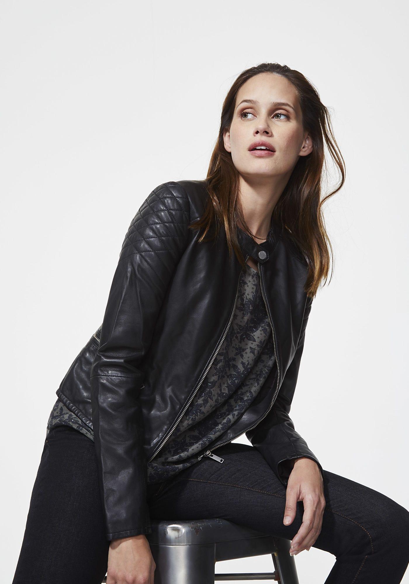 promotion matériaux de haute qualité sélectionner pour plus récent Blouson noir cuir agneau Noir IKKS - Soldes Blouson Femme IKKS