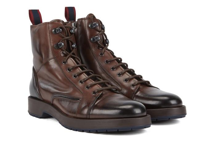 BOSS Boots lacées Montreal Zipb ltfu en cuir poli avec doublure en cuir d'agneau