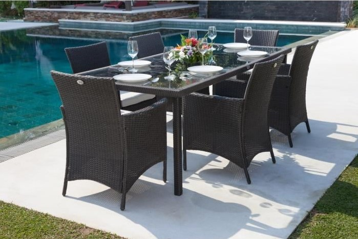 bora ensemble table de jardin 6 places pas cher salon de jardin cdiscount. Black Bedroom Furniture Sets. Home Design Ideas