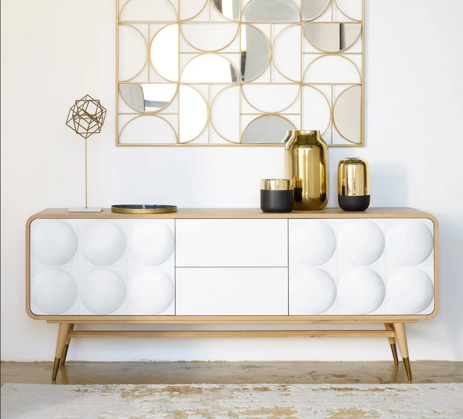 Buffet Monroe 2 portes 2 tiroirs blanc - Maisons du Monde