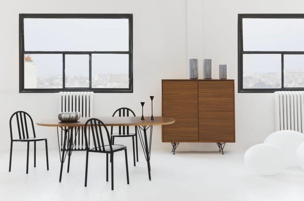 genna buffet haut 4 portes avec tiroir en ch ne habitat buffet habitat. Black Bedroom Furniture Sets. Home Design Ideas
