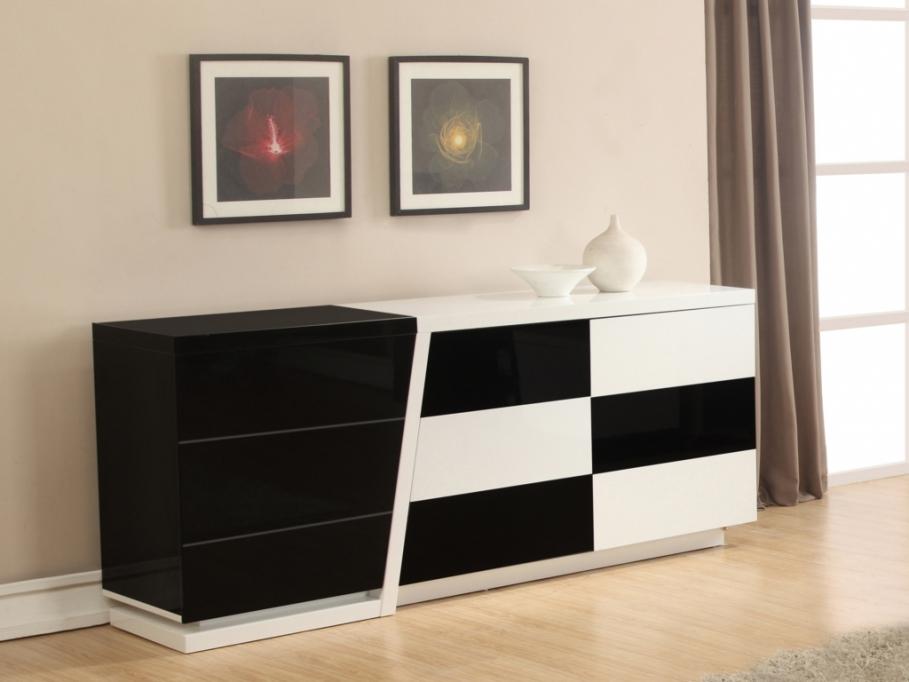 buffet noir et blanc echequier buffet vente unique. Black Bedroom Furniture Sets. Home Design Ideas