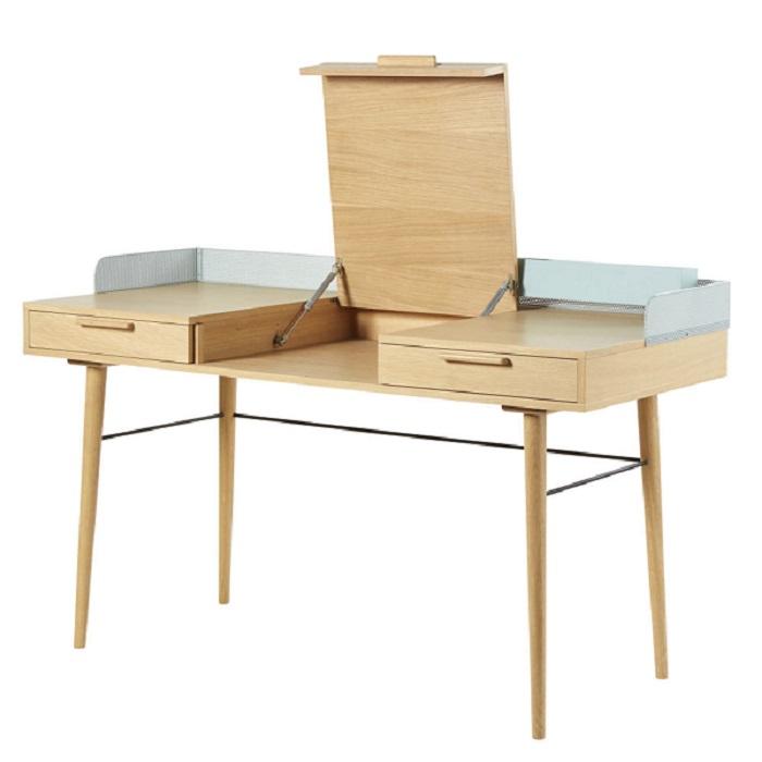 Bureau Workshop 2 tiroirs et métal vert de gris - Maisons de Monde