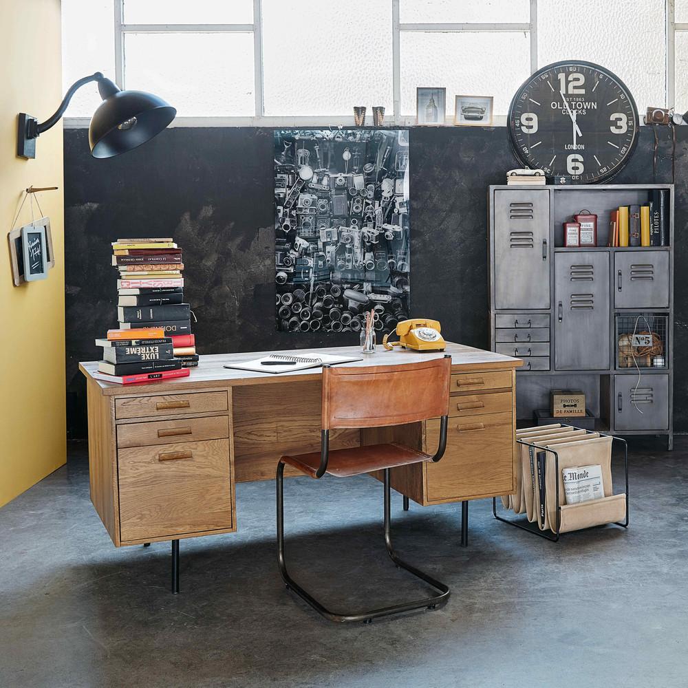 Bureau 6 Tiroirs En Chene Et Metal Noir Hipster Bureau Maisons Du