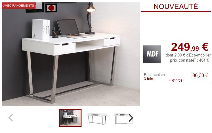 Bureau vintage en manguier janeiro bureau maisons du for Bureau design 2 tiroirs
