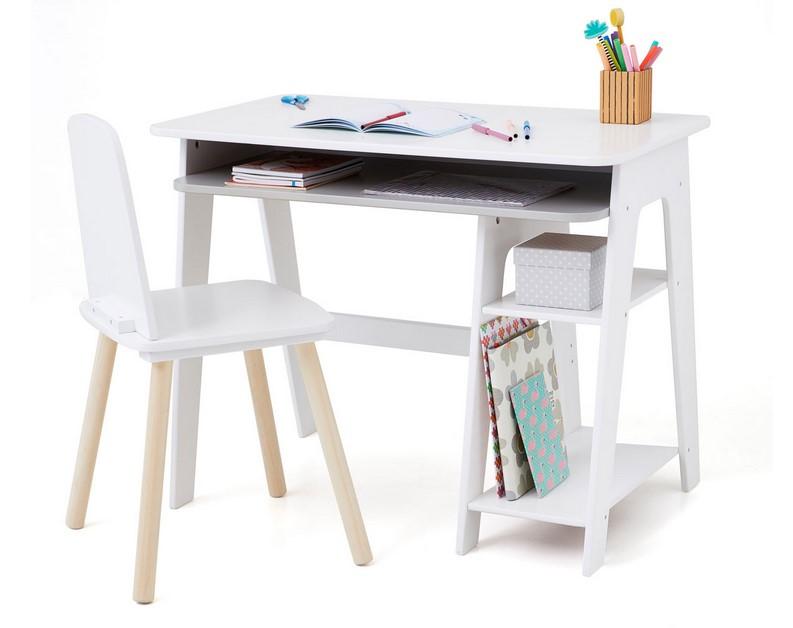 Bureau avec rangements blanc et gris educabul bureau oxybul eveil