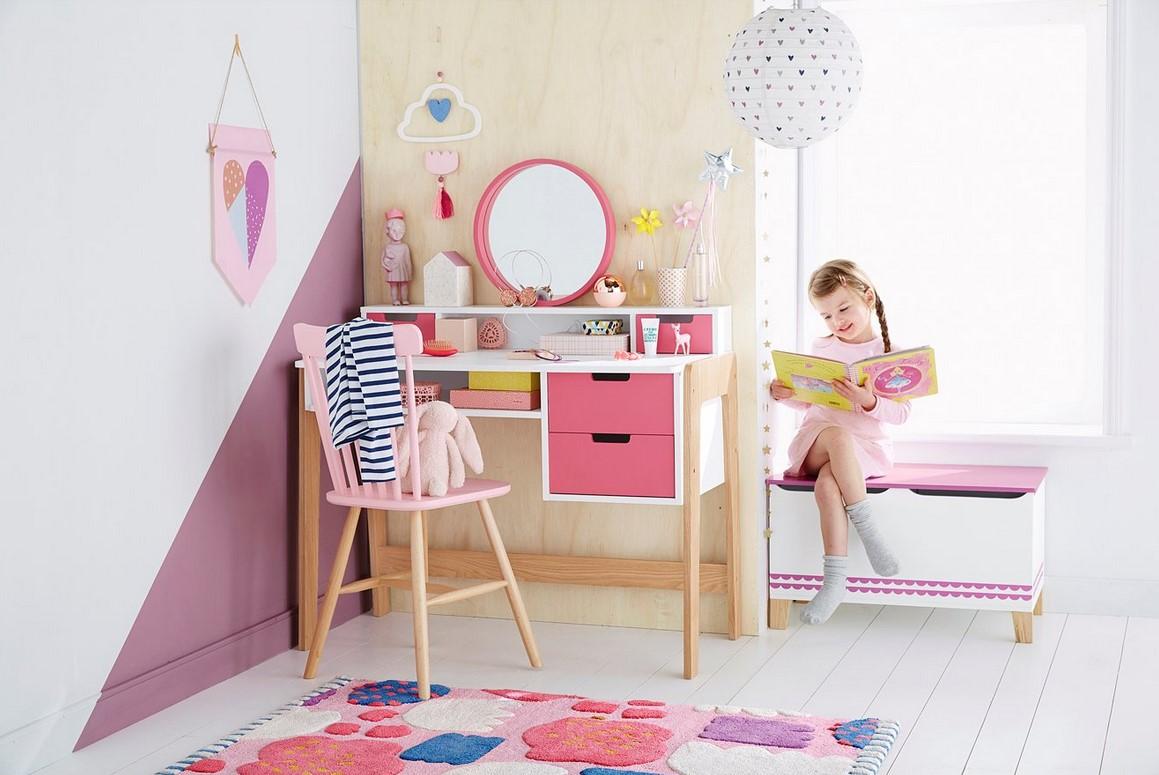 Bureau coiffeuse spécial primaire colors blocs blanc rose bois pas