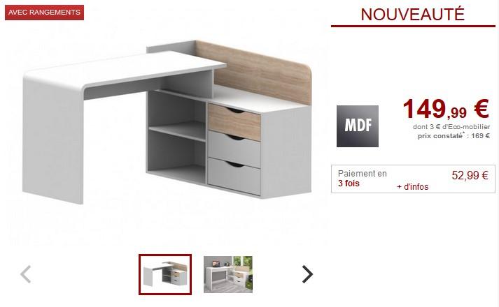Bureau DECLAN 3 tiroirs MDF Coloris Blanc et Chêne - Vente Unique
