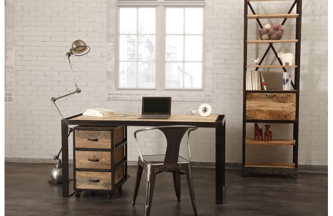 bureau miliboo bureau design industriel bois massif. Black Bedroom Furniture Sets. Home Design Ideas