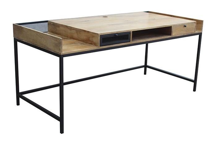 Bureau design rack en manguier et métal noir pas cher bureau