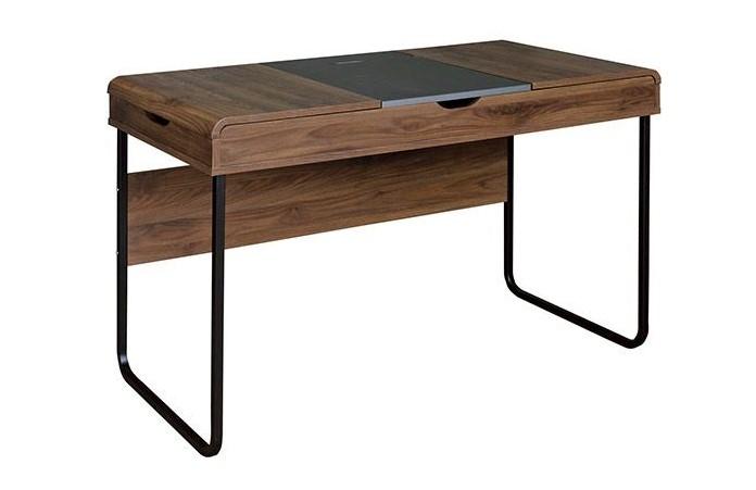 Bureau design quint avec plateau coulissant bois et gris pas cher