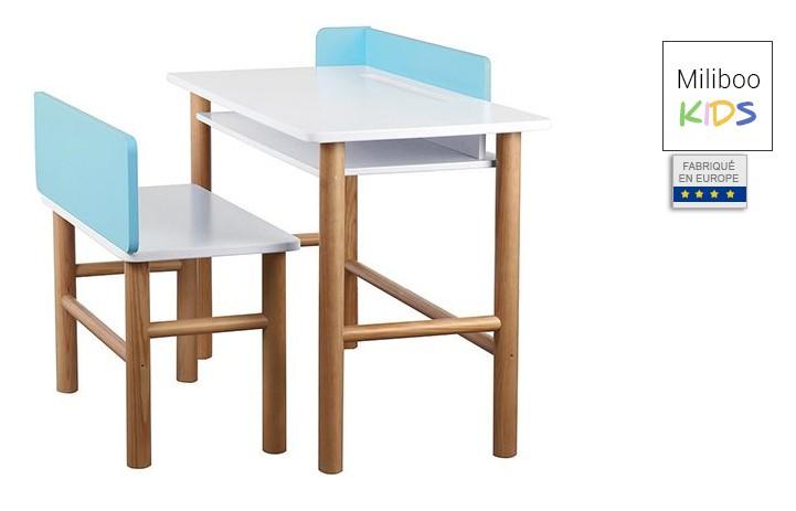 30c909a9579d1 Bureau Enfant BERTY avec banc bleu et bois clair pas cher - Bureau ...