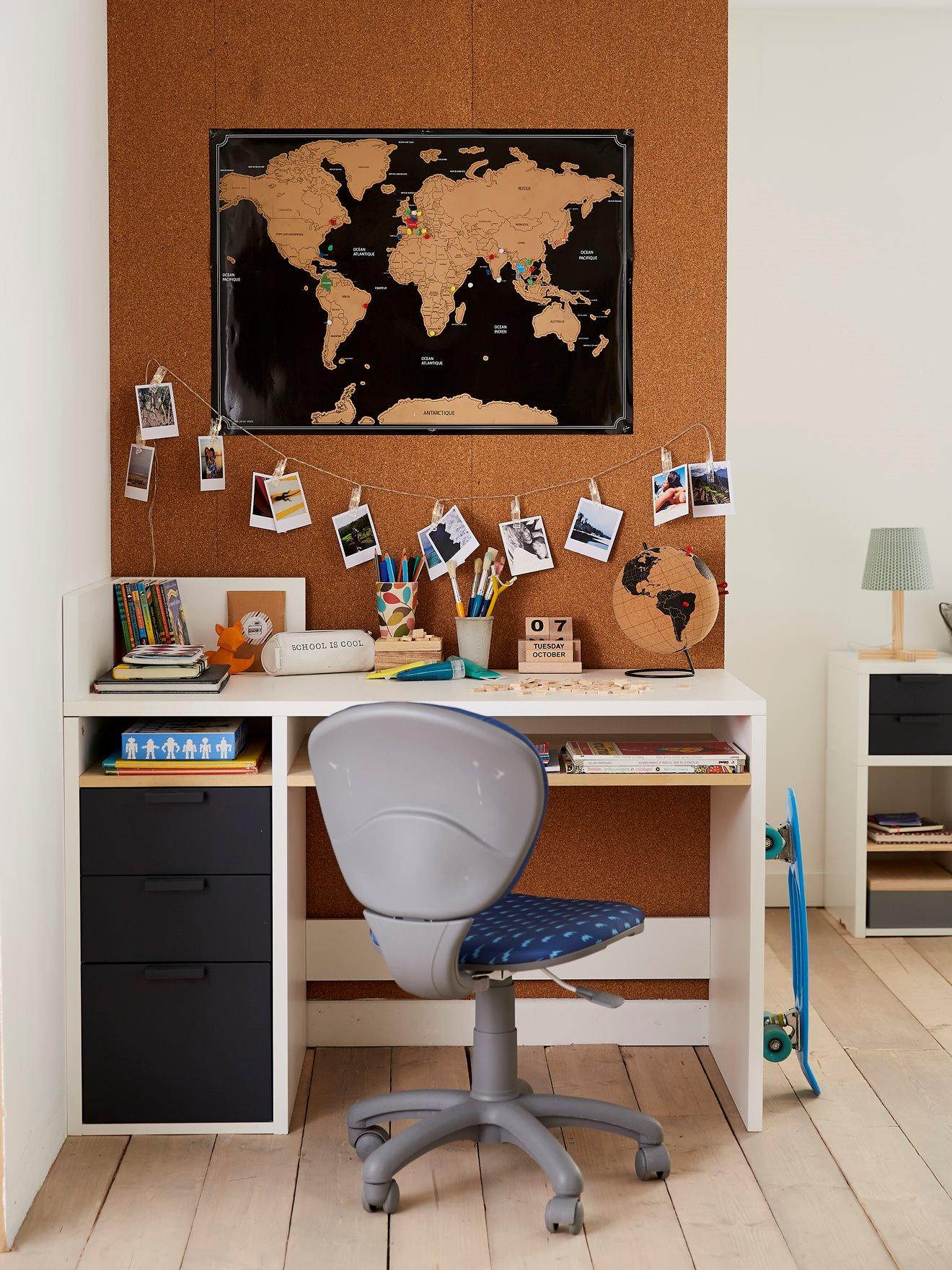 98f42ce95f8d9 Bureau junior LIGNE REGLISSE blanc/gris fonce pas cher - Bureau Enfant  Vertbaudet: (Maison): Vertbaudet Bureau junior LIGNE REGLISSE blanc/gris  fonce Bureau ...