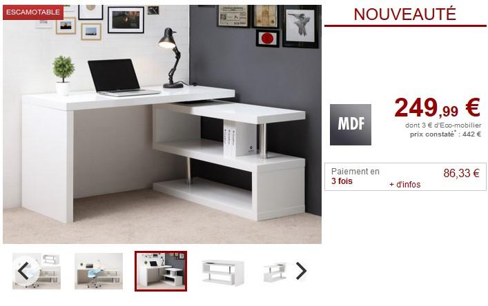 Bureau modulable nicephore mdf laqué blanc pas cher bureau