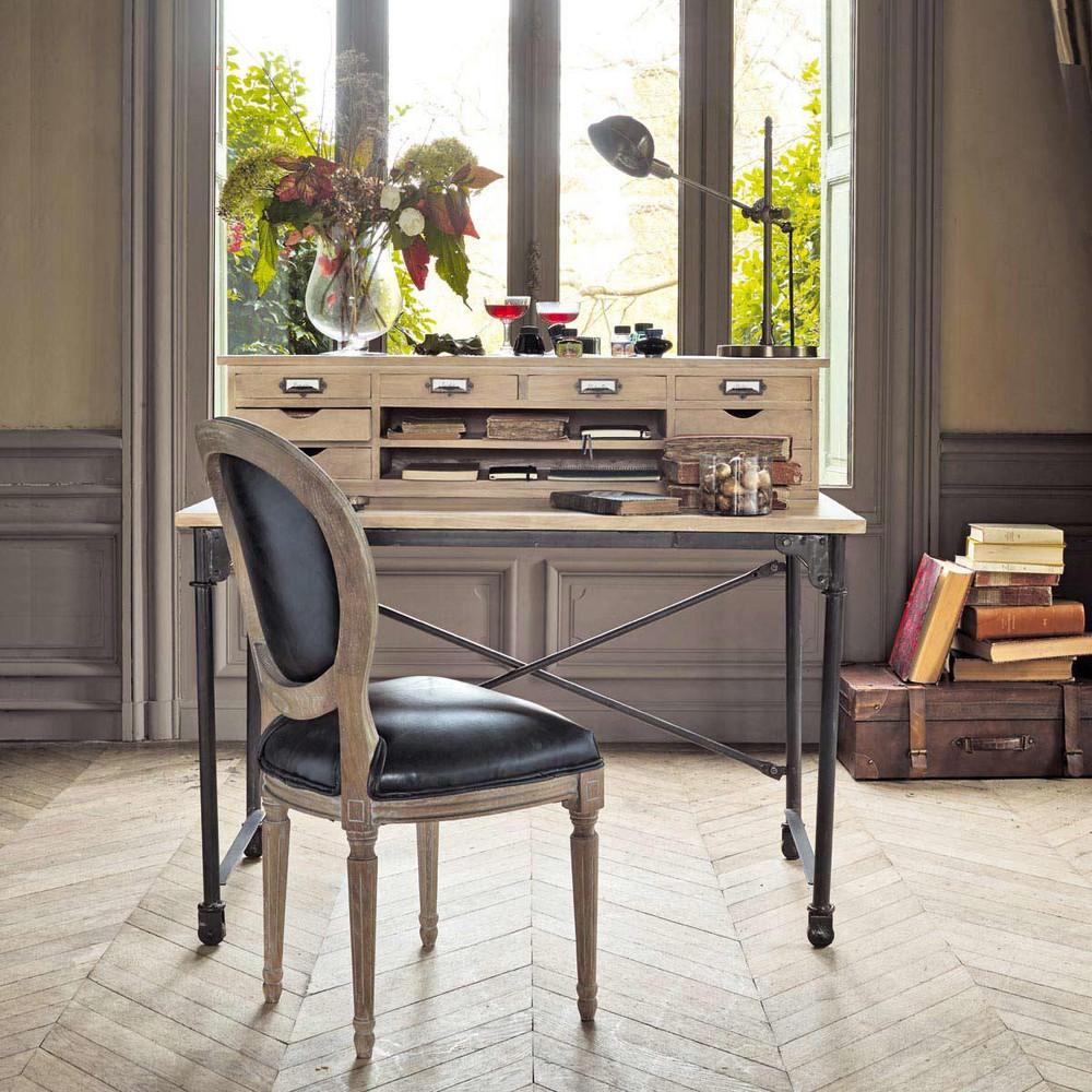 bureau secr taire archibald en manguier massif et m tal bureau maisons du monde. Black Bedroom Furniture Sets. Home Design Ideas