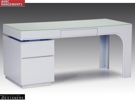 Bureau avec caisson odessa laqué blanc bureau vente unique