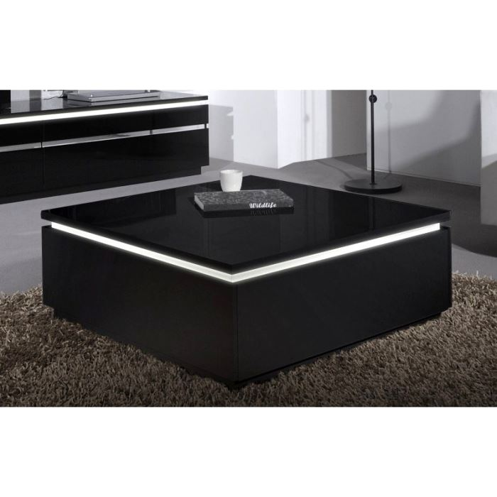 table basse cdiscount pas cher buzz table basse avec clairage laqu e noir. Black Bedroom Furniture Sets. Home Design Ideas