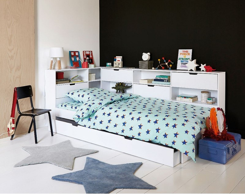 lit avec tiroir rangements et sommiers yann la redoute lit enfant la redoute. Black Bedroom Furniture Sets. Home Design Ideas