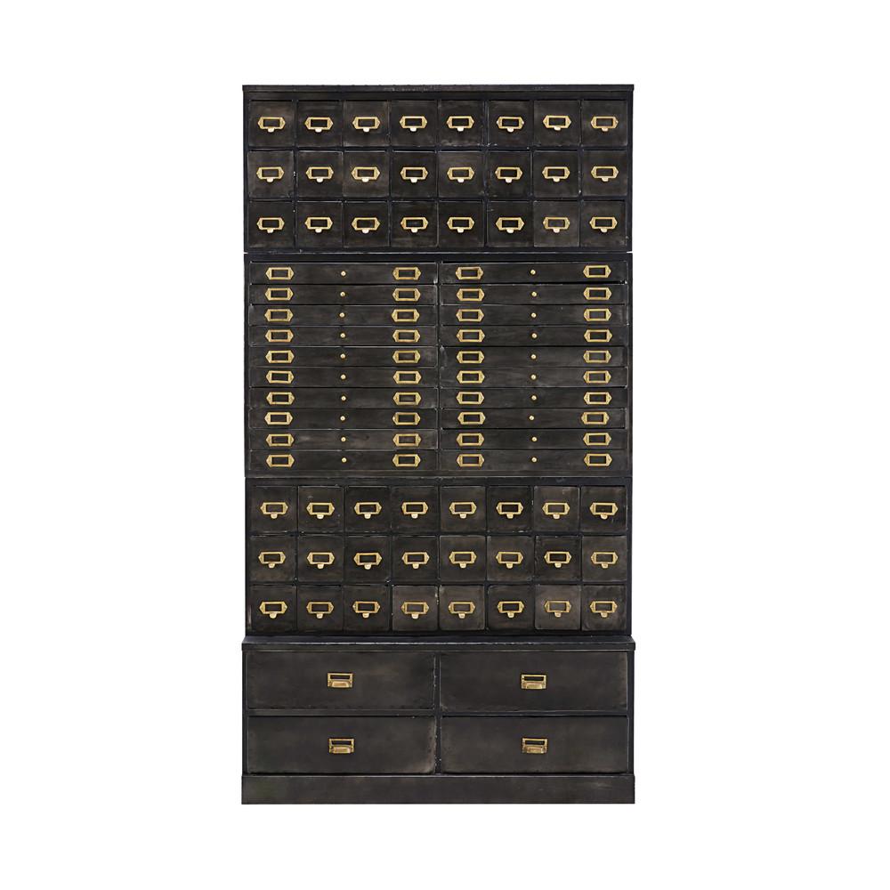 cabinet de rangement 72 tiroirs officine en mtal noir vieilli maisons du monde
