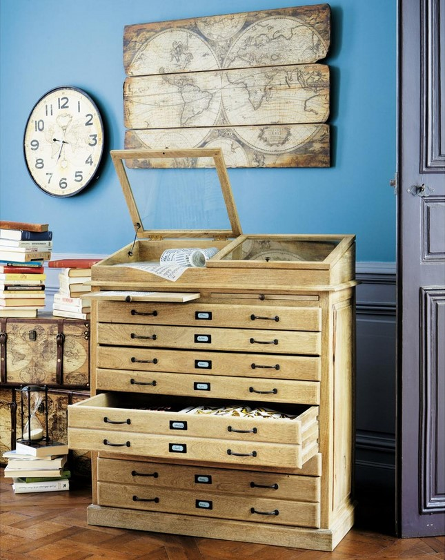 cabinet semainier multi tiroirs naturaliste soldes cabinet maisons du monde achat cabinet. Black Bedroom Furniture Sets. Home Design Ideas