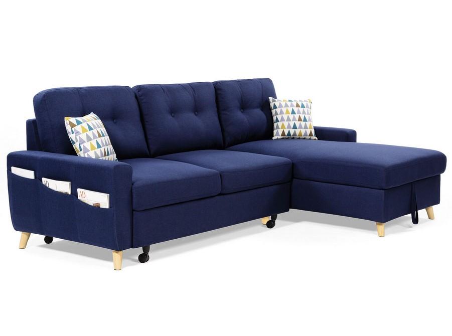 Canapé d'angle droit convertible VICTORIA avec coffre et coussins bleu