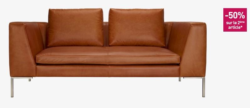 montino canap 2 places en cuir vintage aniline cognac habitat
