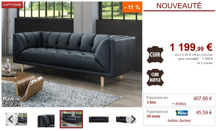 canap 3 places 100 cuir chatain promo canap vente. Black Bedroom Furniture Sets. Home Design Ideas
