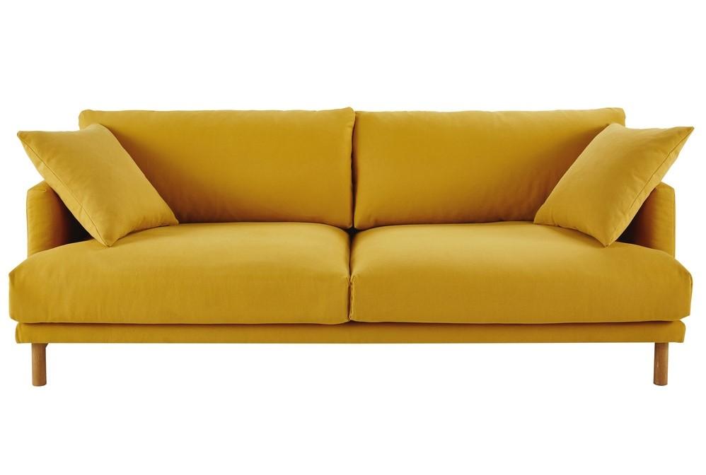 canapé 3 places raoul en coton et lin jaune moutarde