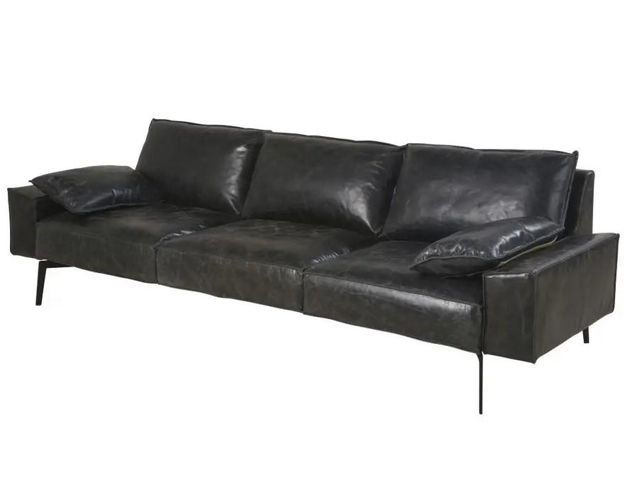 Canapé 3 places Dyonisos en cuir noir - Maisons du Monde