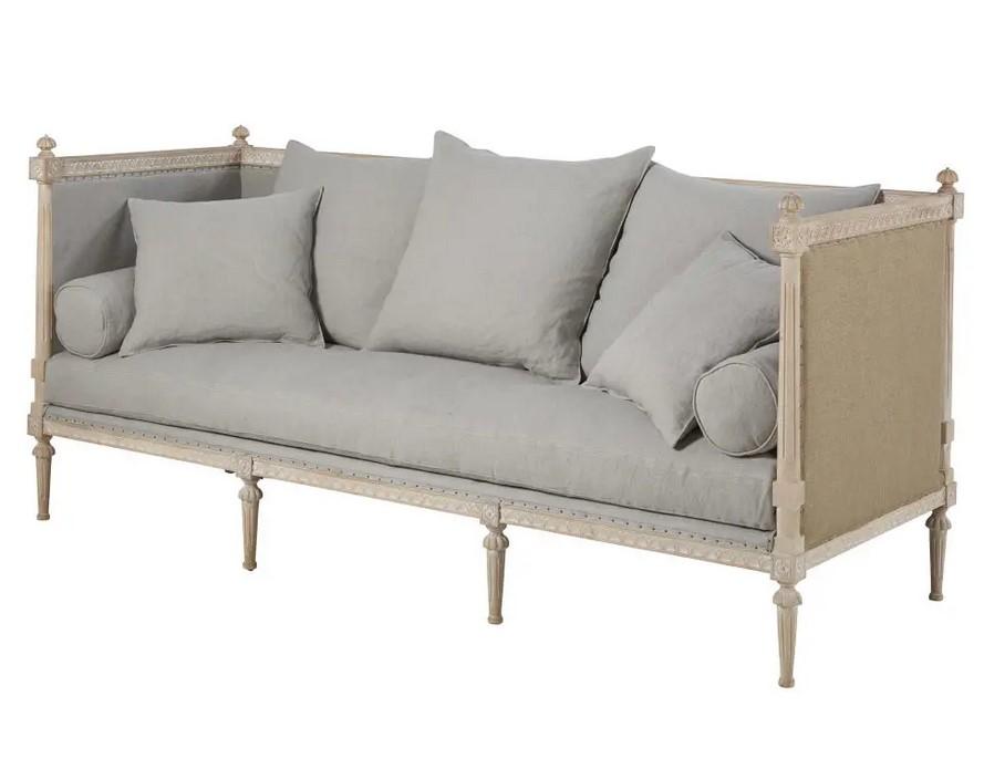 Canapé 3 places Adele en lin gris bleu - Maisons du Monde