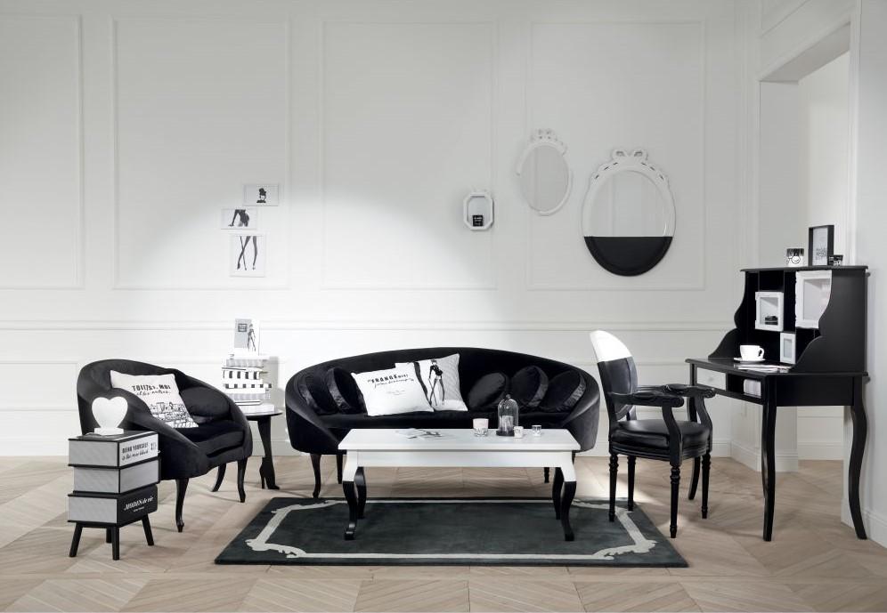 Canapé 3 places CHANTAL THOMASS en velours et satin noirs - Maisons du Monde
