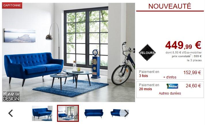 Canapé 3 places scandinave SERTI en velours bleu nuit - Vente Unique