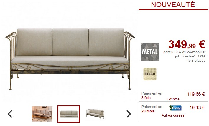 Canapé 3 places laiton antique et tissu PROVENCIA - Vente Unique