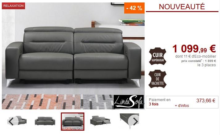 grossiste f1e25 d6b39 Canapé 3 places relax électrique PAULY en cuir Anthracite pas cher - Canapé  Vente Unique