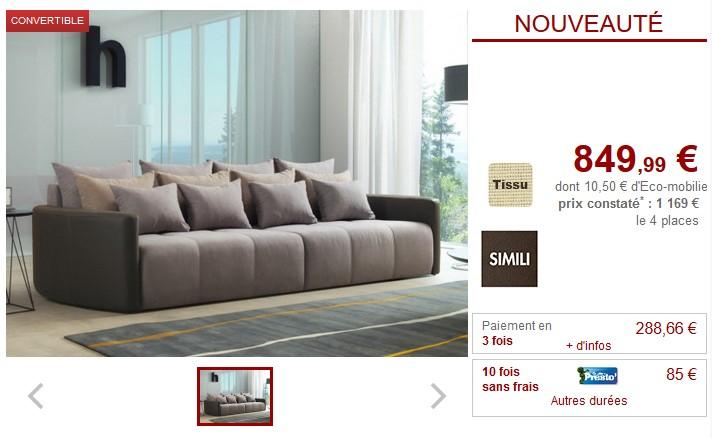 Canape 4 Places Convertible Leona En Tissu Et Simili Grise Pas Cher
