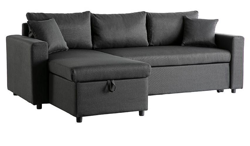 Canapé d'angle convertible MACY avec rangement gris foncé - Miliboo
