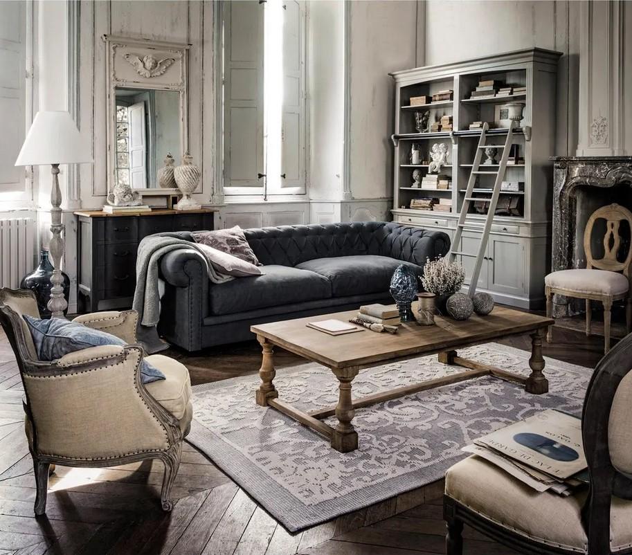 Canapé capitonné 3/4 places Grace en coton et lin gris bleuté - Maisons du Monde