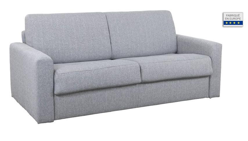 Canapé convertible DOME avec matelas 140 cm tissu gris foncé - Miliboo