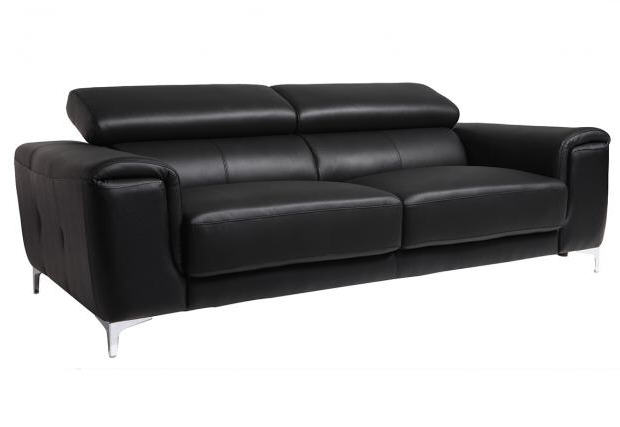 canap cuir design 3 places nevada avec t ti res relax noir canap miliboo. Black Bedroom Furniture Sets. Home Design Ideas