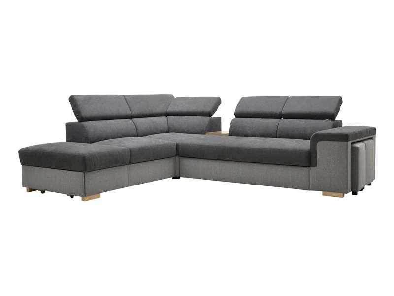Canapé d'angle convertible 4 places BERGEN coloris anthracite/gris