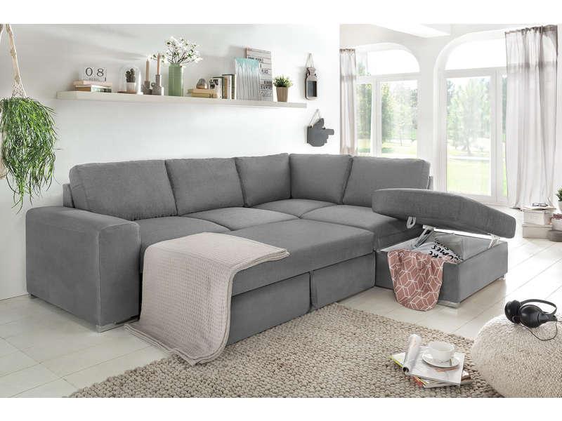 Canapé d'angle convertible 4 places MURPHY en tissu coloris gris clair