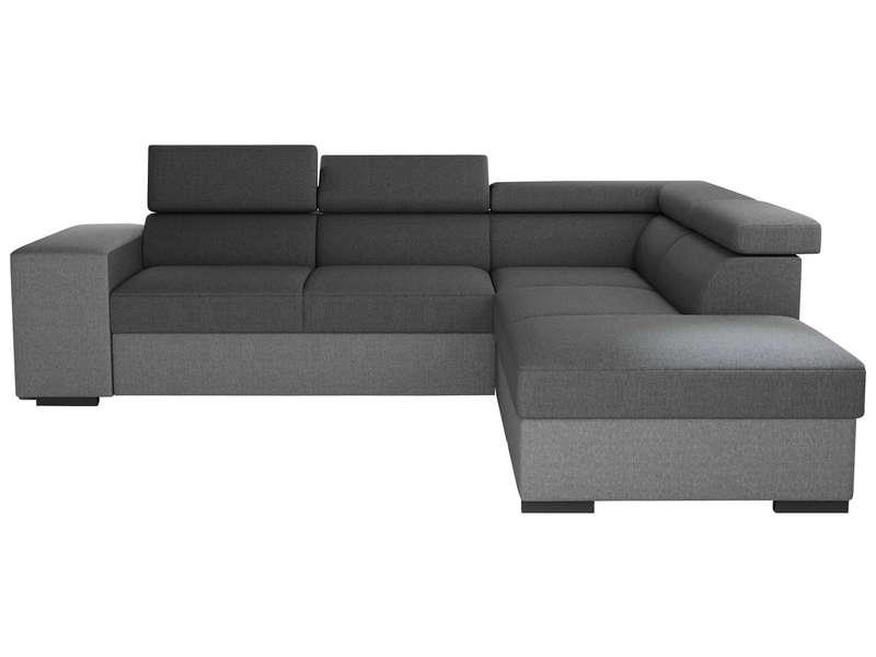 Canapé d'angle convertible 4 places en tissu TERENCE coloris anthracite/gris souris