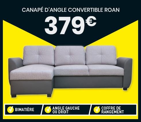 Canapé d'angle convertible 4 places ROAN Coloris gris - Conforama