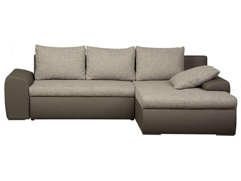Canapé d'angle convertible et réversible 5 places BELLA coloris taupe/gris en PU/tissu- Conforama
