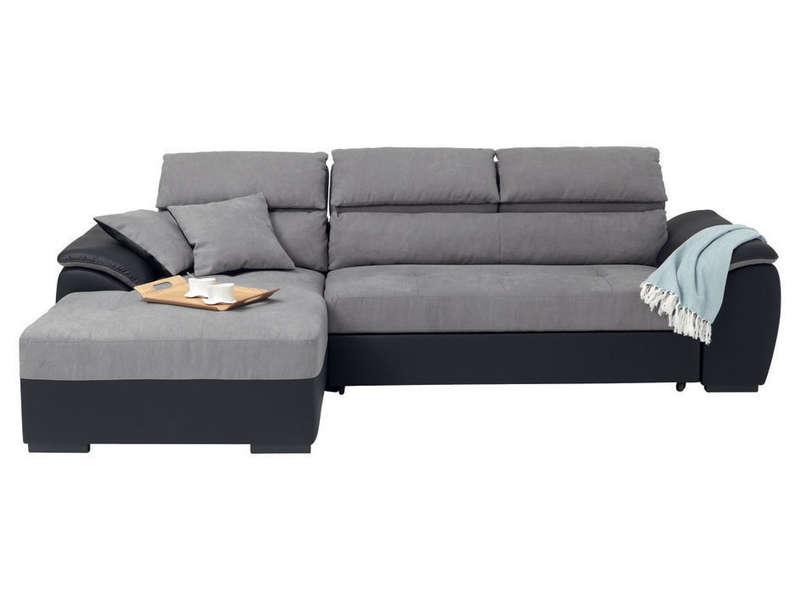 Canapé d'angle convertible gauche 4 places BOTERO coloris gris et noir en PU/tissu